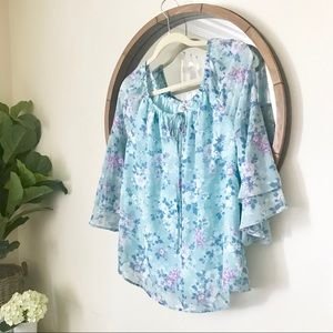 Floral Peasant Style Blouse